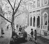 Early trading in the US beneath a buttonwood tree.