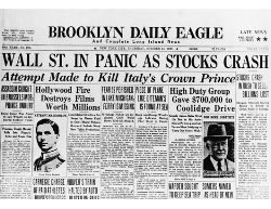 Front page of the Brooklyn Daily Eagle newspaper on Oct. 24, 1929 (also known as Black Thursday) reads - Wall St. in Panic as Stocks Crash.