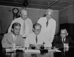 SEC Commission on July 2, 1934 (Right to left: Ferdinand Pecora, George C. Mathews, Robert E. Healy, Joseph P. Kennedy, and James M. Landis).